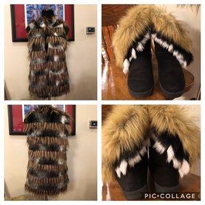 Faux Fur Bundle Boots Vest